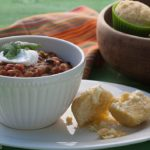 Poblano Turkey Sausage Chili and Corn Muffins | whatagirleats.com