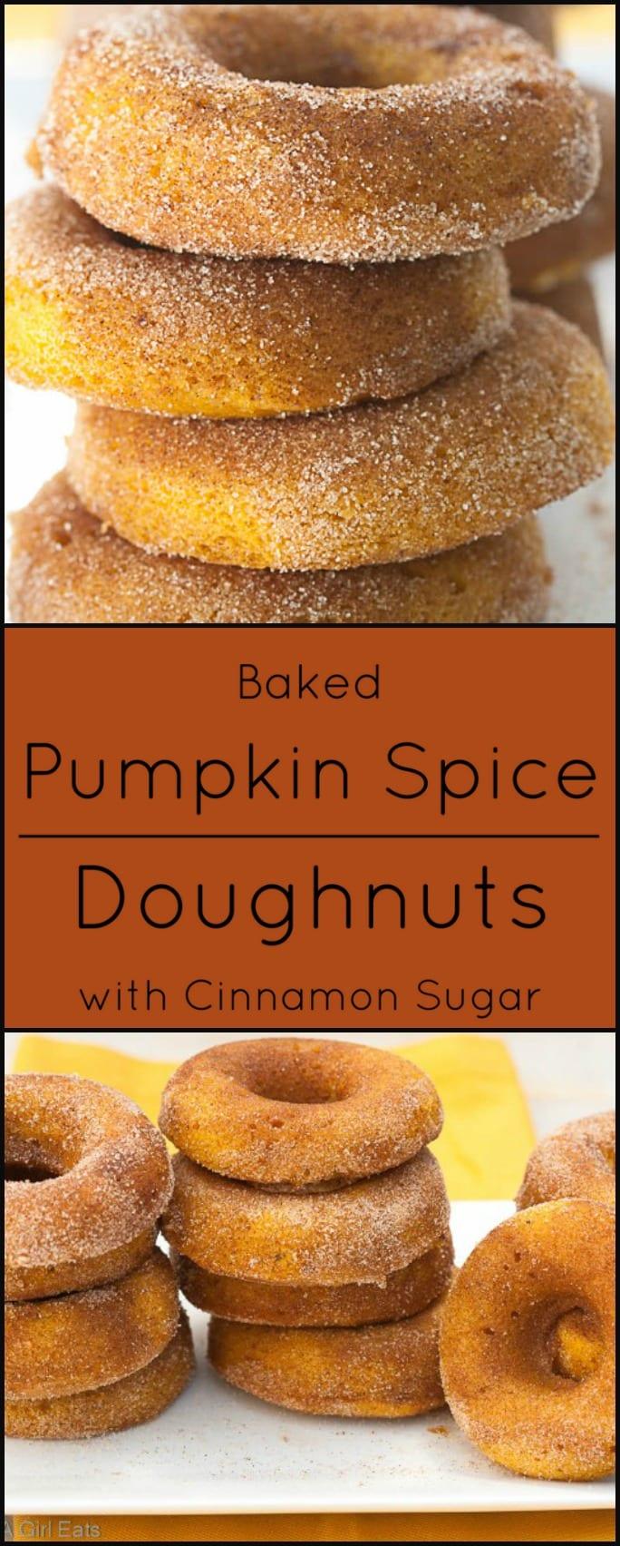 Baked Pumpkin Spice Doughnuts with Cinnamon Sugar. Gluten free option.