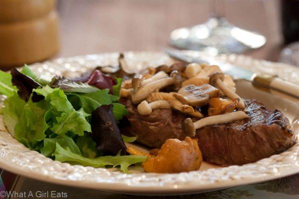 Steak with Sauteed Mushrooms