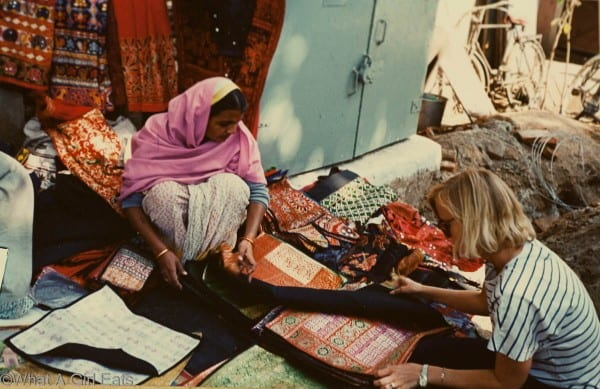 Buying fabric in Delhi, India.