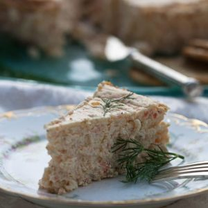 Savory Smoked Salmon Cheesecake.