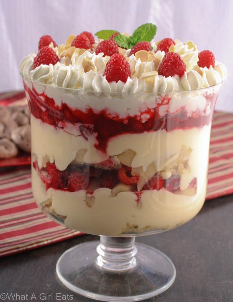 Poached Pear and Raspberry Trifle with Almond Pound cake.
