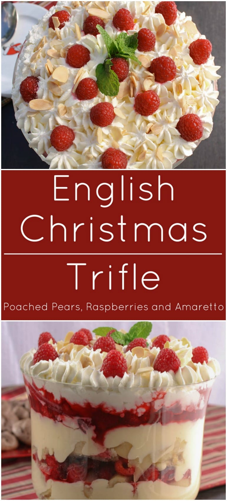 English Christmas Trifle With Almond Pound Cake Soaked Amaretto Liqueur Fresh Raspberries And Poached