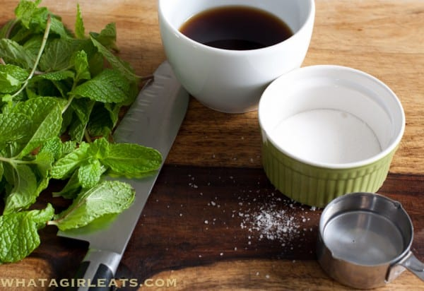 3 simple ingredients for classic British mint sauce - fresh mint, malt vinegar, sugar and water.