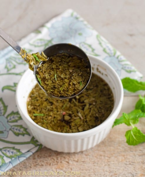 This fresh mint sauce is tangy, a little sweet and is the perfect accompaniment to roast leg of lamb.   @whatagirleats