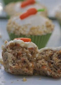 Carrot cake cupcakes with cream cheese frosting.
