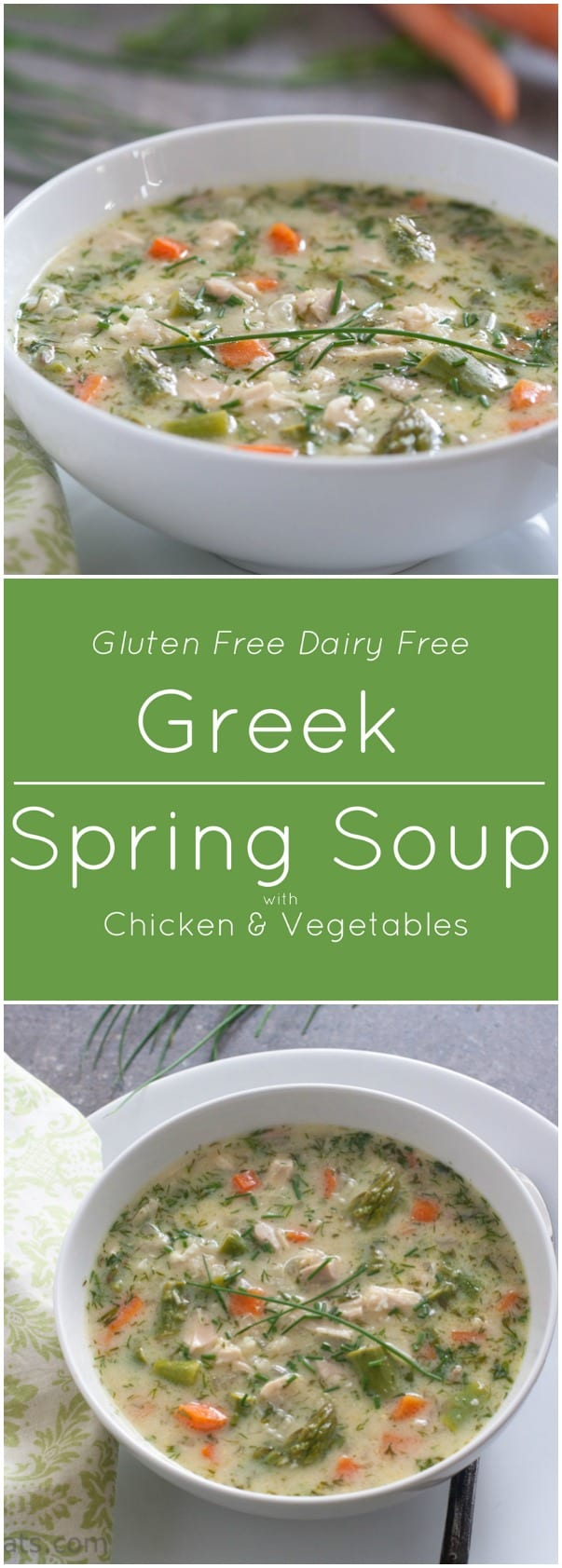 Greek Soup with chicken and fresh vegetables is gluten free and dairy free.