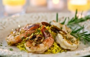 Rosemary shrimp with rice pilaf.