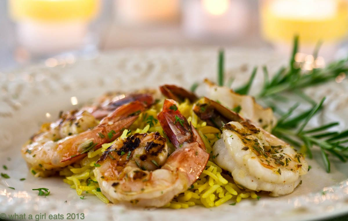 Grilled Rosemary Shrimp Rice Pilaf - What A Girl Eats