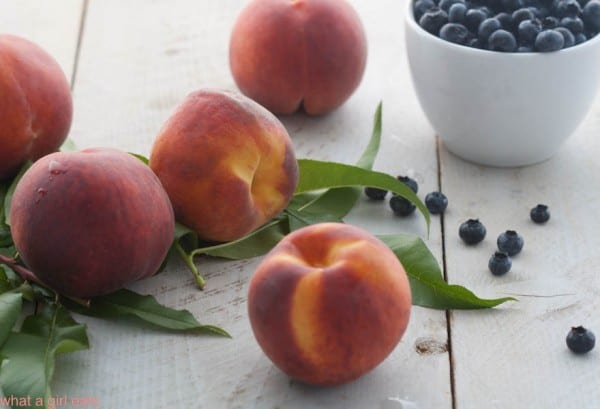 fresh peaches and blueberries