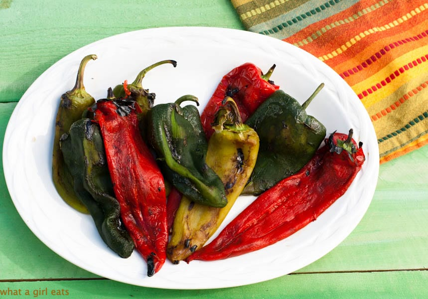 Roasted chiles without skins