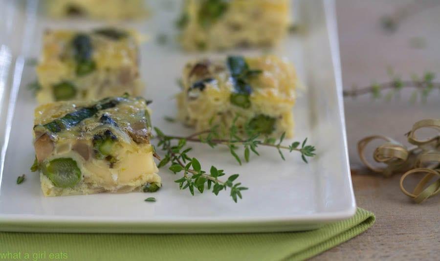 Asparagus quiche squares
