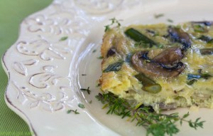 Asparagus and Mushroom Crustless Quiche.
