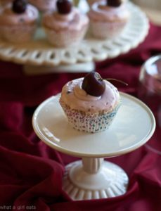 Almond Cupcakes with Cherry Almond Cream Cheese Frosting.