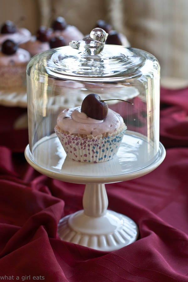 Cherry Almond Cupcake cloche - What A Girl Eats