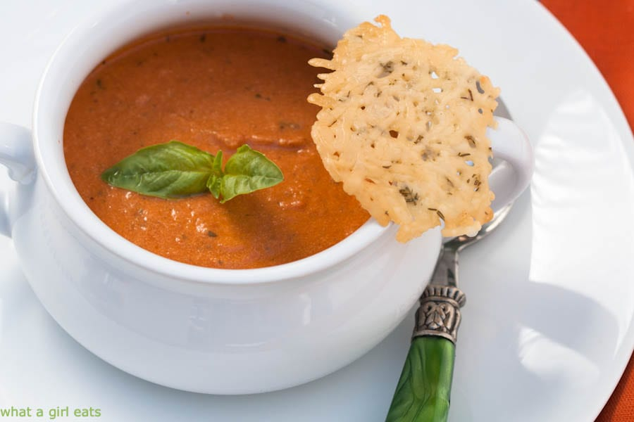 Tomato basil soup with goat cheese is fast and easy.