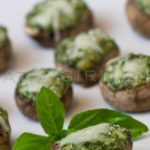 Spinach, gorgonzola and basil stuffed mushrooms.. @whatgirleats.com