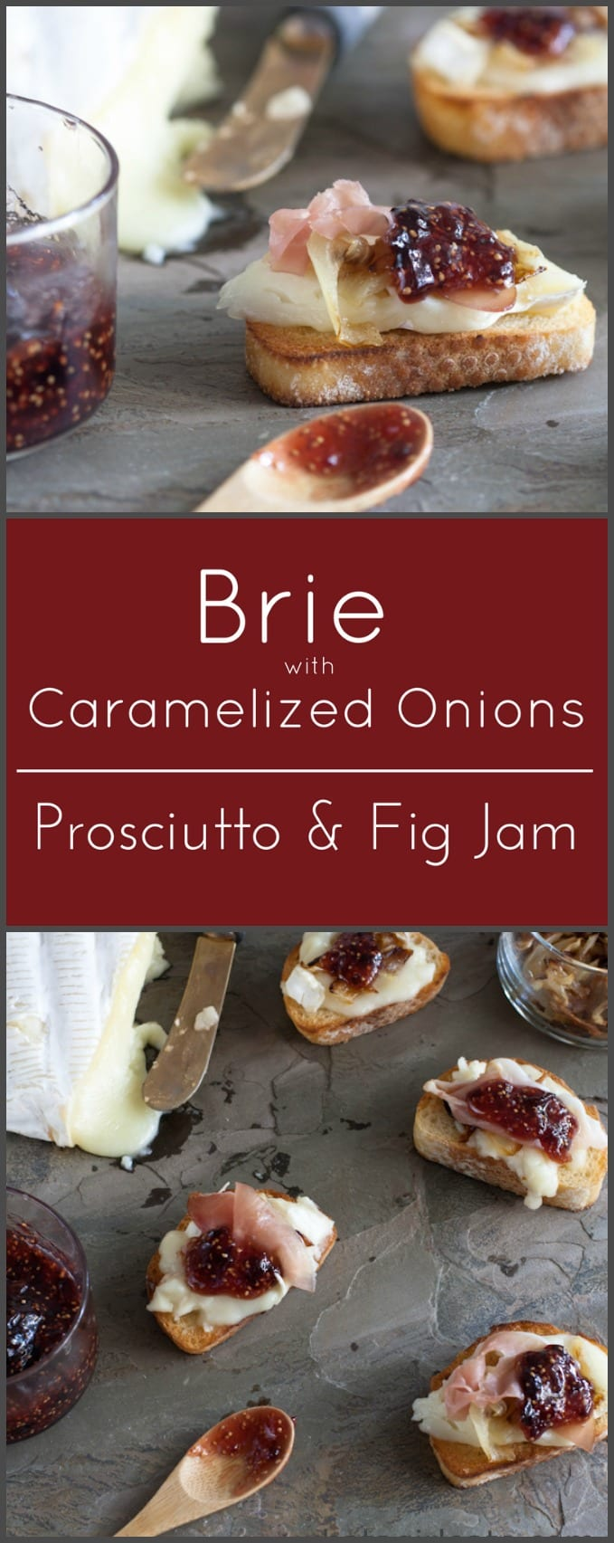 Brie and prosciutto bites with caramelized onions and fig jam.