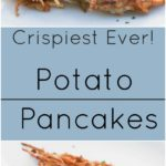 Crispiest ever potato pancakes (latkes) with sour cream and apple sauce.