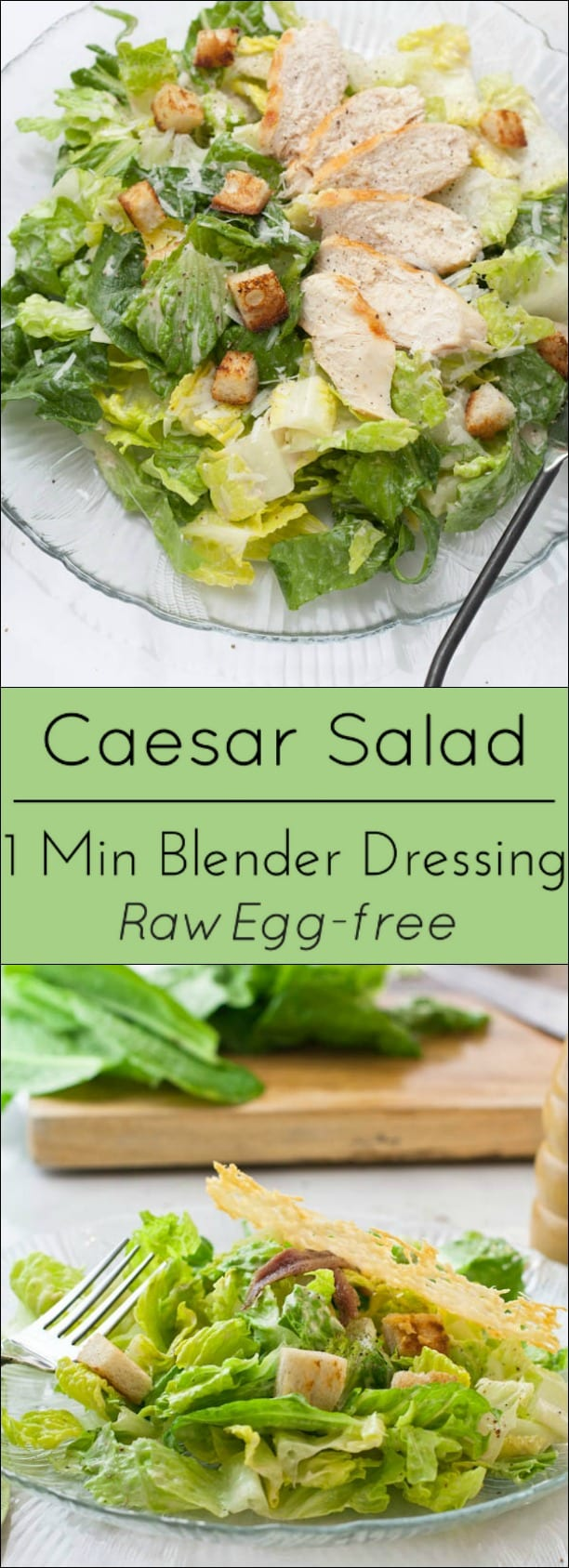 Classic Caesar Salad with 1 minute Blender dressing is raw egg free, gluten free and low carb.