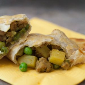 Indian Curried Ground Meat Samosas - Get the recipe on WhatAGirlEats.com