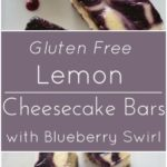 Lemon Cheesecake Blueberry Swirl Bars with a gluten free gingersnap crust.