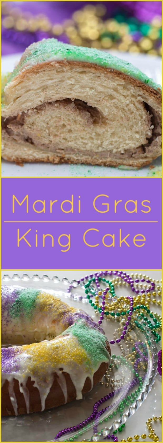 King Cake. A must have for any Mardi Gras party! Filled with cinnamon cream cheese.