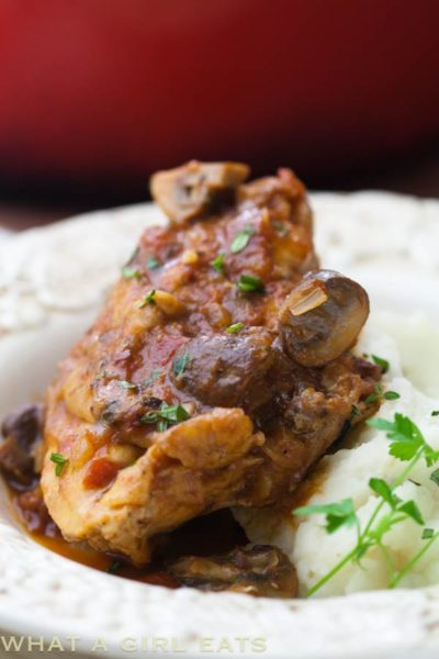 "Chicken Chasseur, ""Hunter Style"" chicken with mushrooms, tomatoes and herbs."