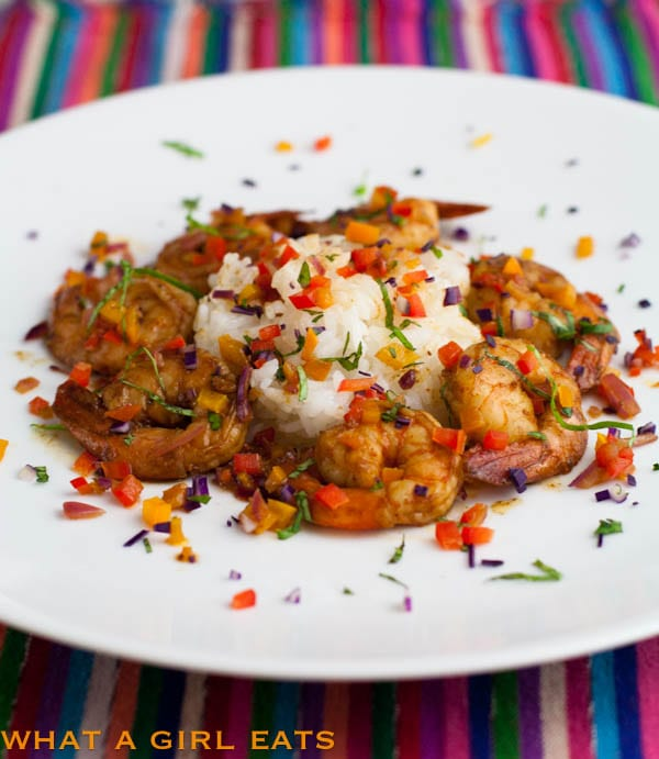 Spicy Confetti Shrimp recipe, from @whatagirleats