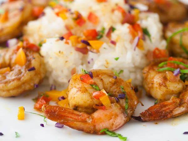 Confetti Shrimp, spicy shrimp with sautéed vegetables…it's a party on a plate!