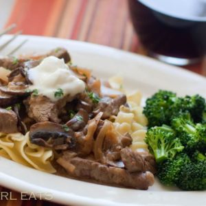 Beef Stroganoff on buttery noodles.