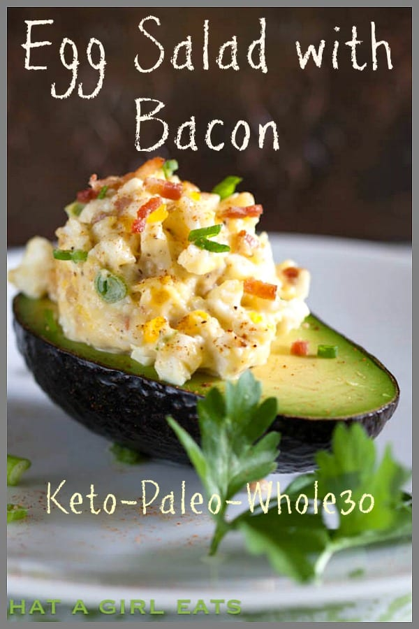egg salad with bacon in an avocado