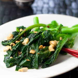 Broccoli Rapini with Garlic and Cashews.