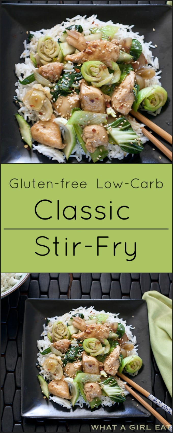 Classic Chinese Stir-fry with Chicken and baby Bok Choy is gluten free and low carb.