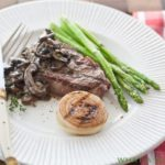 Mushroom brandy sauce is a simple but flavorful pan sauce, perfect for serving over beef, chicken, or pork. | WhatAGirlEats.com