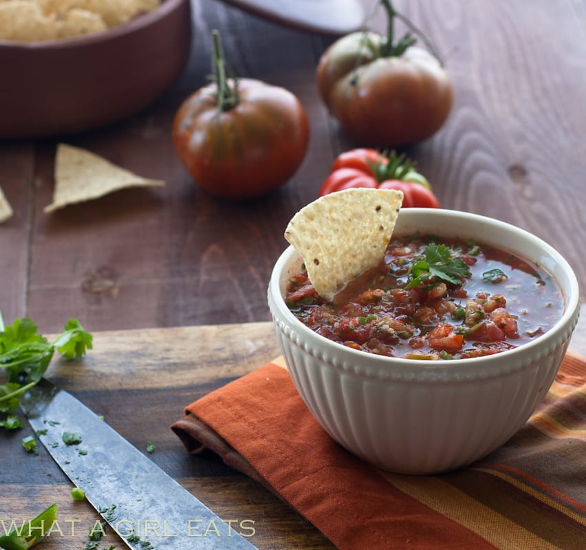Salsa fresca is a quick, easy, and fresh homemade salsa. This easy salsa recipe is a great way to use fresh garden tomatoes.
