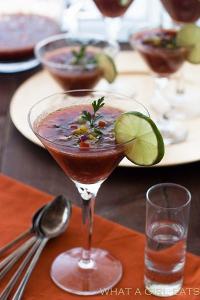 A shot of vodka turns this soup into a Gazpacho Martini.