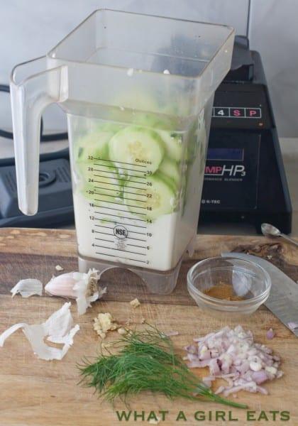 preparing cold cucumber soup