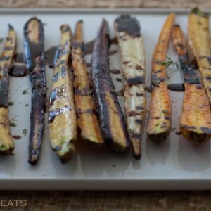 Simple roasted carrots with Balsamic vinegar.