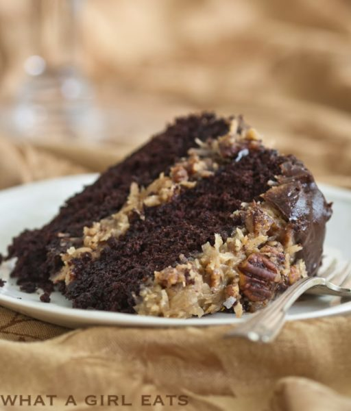Chocolate Butter Cake With Coconut Pecan Frosting.