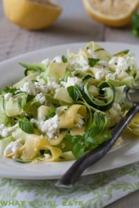 Zucchini ribbon salad with feta and fresh mint.