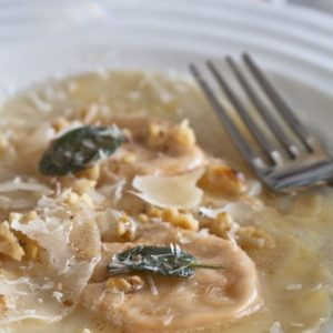 Pumpkin Ravioli with browned butter, sage and walnuts.