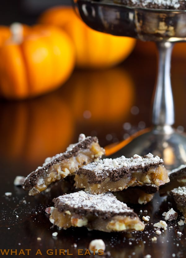Pumpkin spice pecan toffee is an easy candy recipe that brings together pumpkin spice, chocolate, and crunchy nuts into a simple homemade toffee.