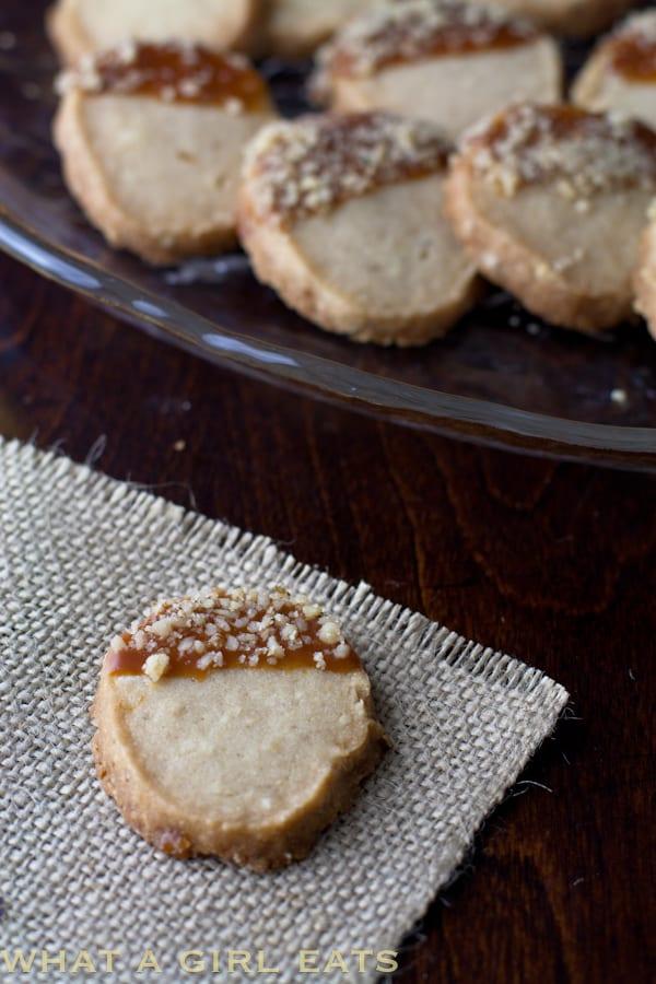 Brown Sugar Walnut Shortbread Cookies, shaped to look like acorns.