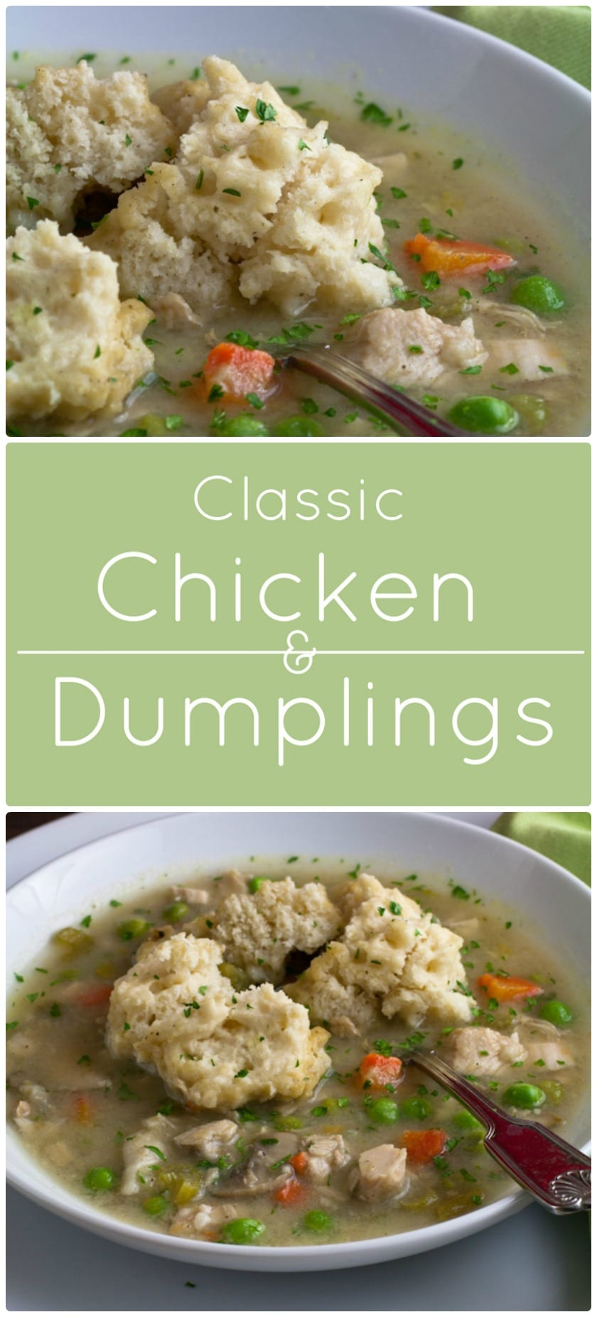 Classic chicken and dumplings. Hearty chicken stew with light and fluffy, from scratch, dumplings.