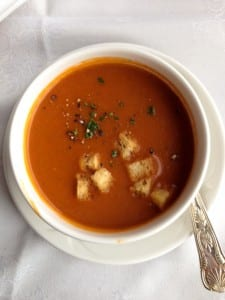 Cream of tomato soup with house made croutons