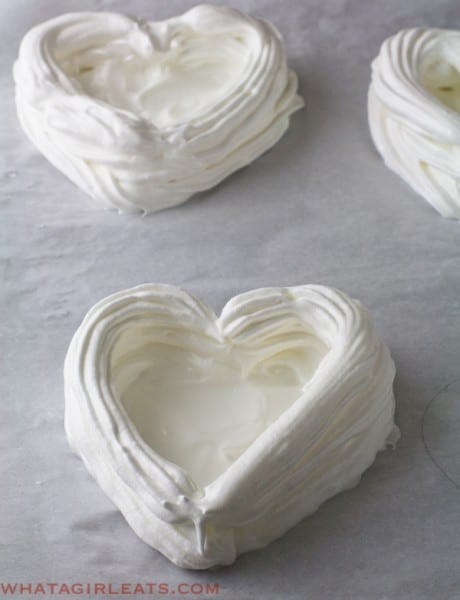 Meringue heart shells