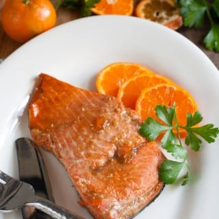 Easy baked Marmalade Salmon. whatagirleats.com