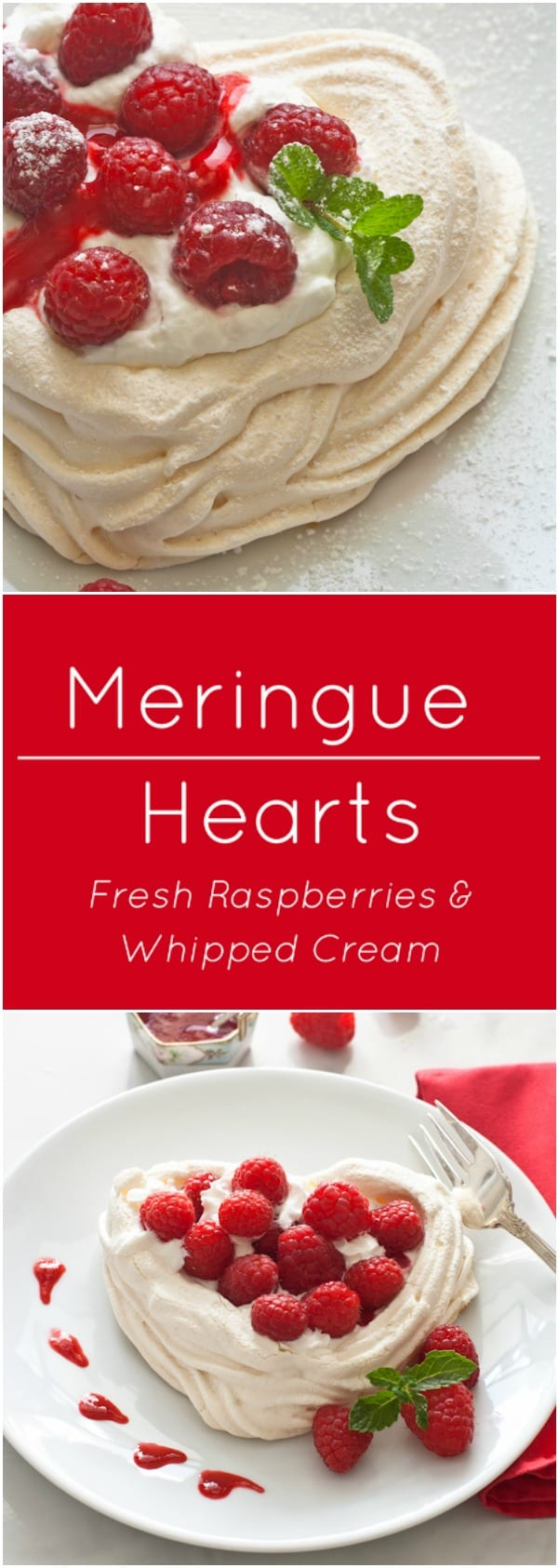 Light and crispy meringue hearts are naturally gluten free. Fill with fresh raspberries and whipped cream.