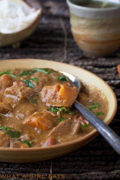 West African peanut stew. @whatagirleats.com